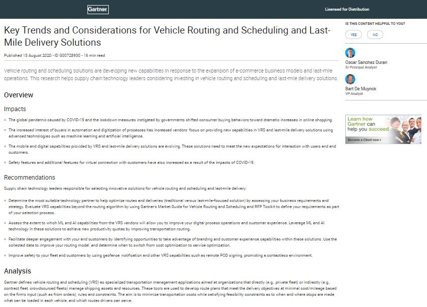 Gartner Report: Key Trends and Considerations for Vehicle Routing and Scheduling and Last-Mile Deliv