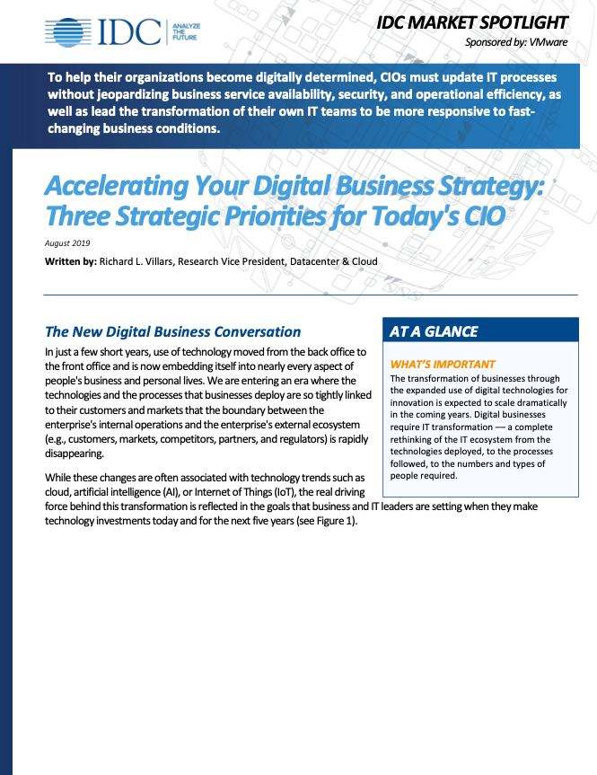 ACCELERATING YOUR DIGITAL BUSINESS STRATEGY: THREE STRATEGIC PRIORITIES FOR TODAYS CIO