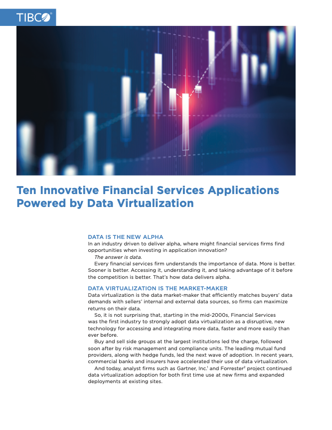 Ten Innovative Financial Services Applications Powered by Data Virtualization