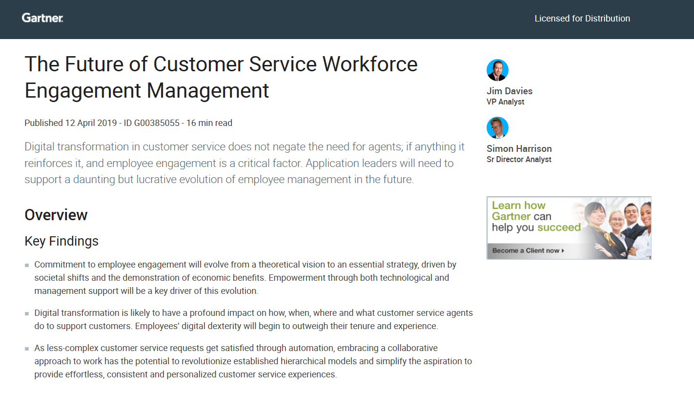 Gartner Report: The Future of Customer Service Workforce Engagement Management