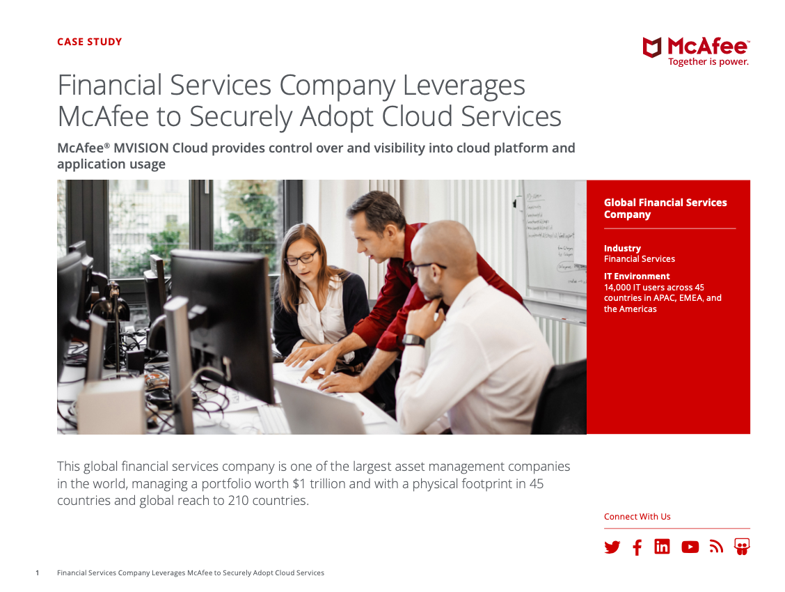 Financial Services Company Leverages McAfee to Securely Adopt Cloud Services