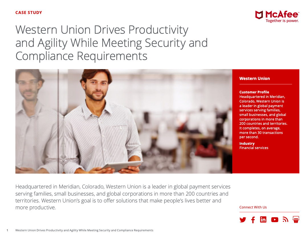 Western Union Drives Productivity and Agility While Meeting Security and Compliance Requirements