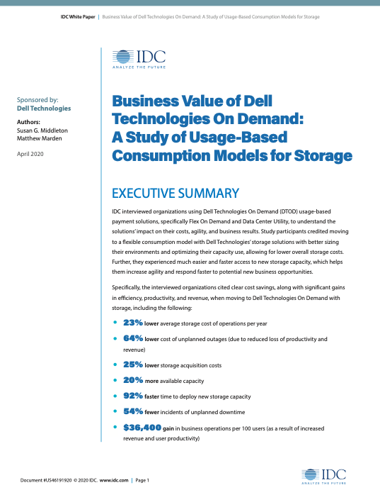 Business Value of Dell Technologies On Demand: A Study of Usage-Based Consumption Models for Storage
