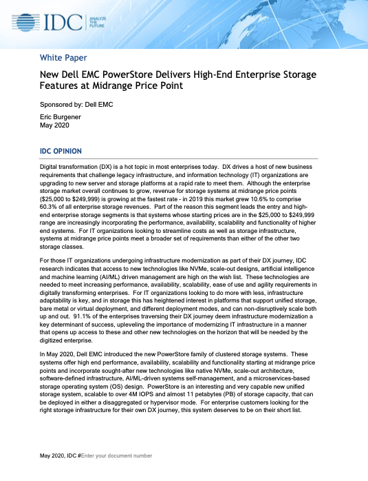 New Dell EMC PowerStore Delivers High-End Enterprise Storage Features at Midrange Price Point