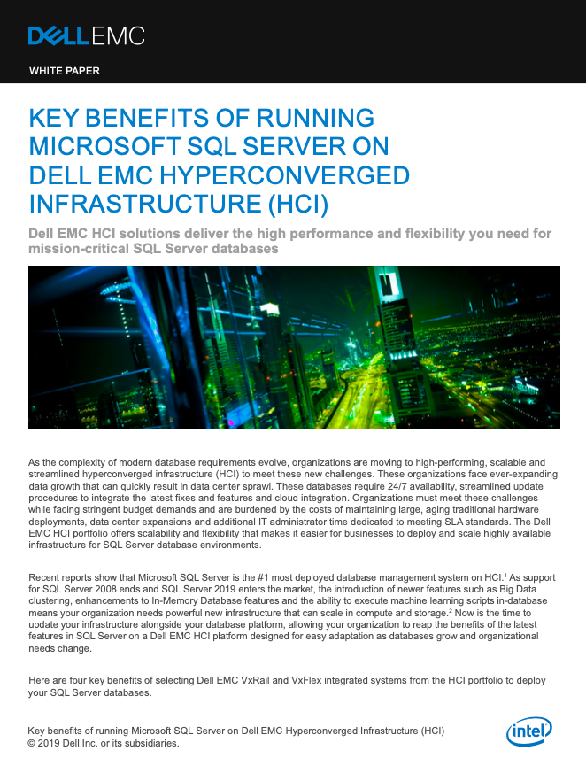Key Benefits of running Microsoft SQL server on Dell EMC hyperconverged infrastructure (HCI)