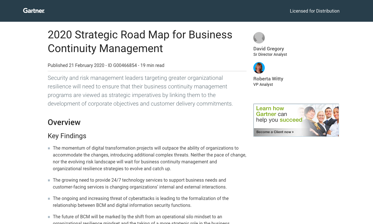 Gartner 2020 Strategic Road Map for Business Continuity Management