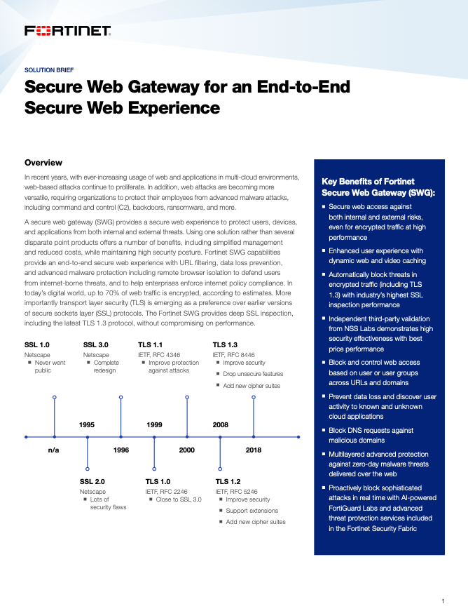 Secure Web Gateway for an End-to-End Secure Web Experience