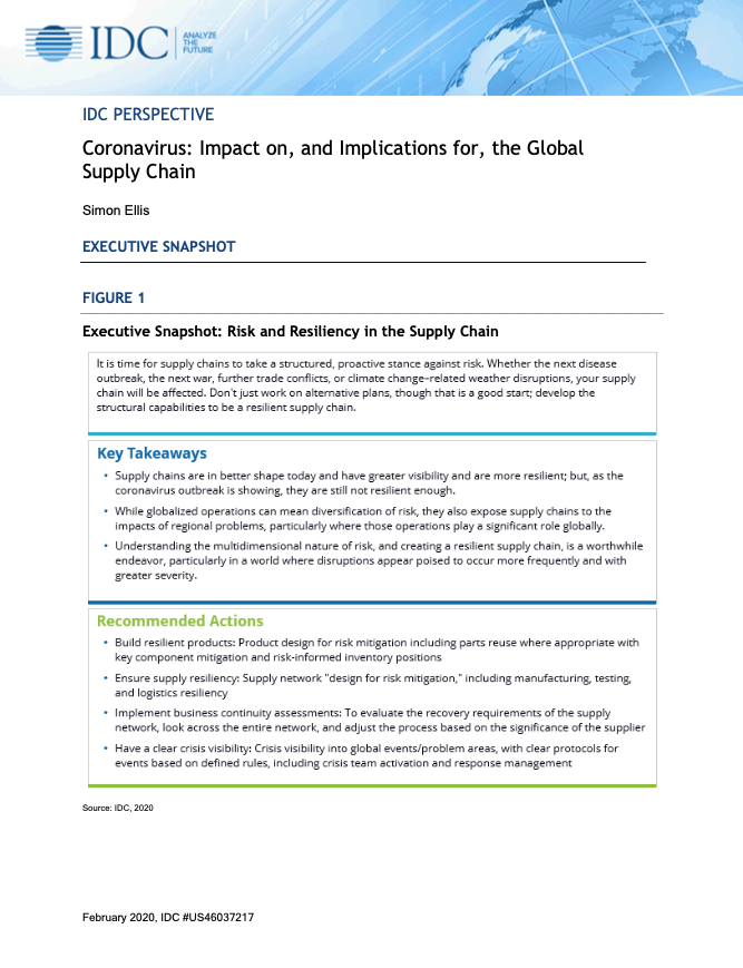 IDC Perspective: Coronavirus: Impact on, and Implications for, the Global Supply Chain