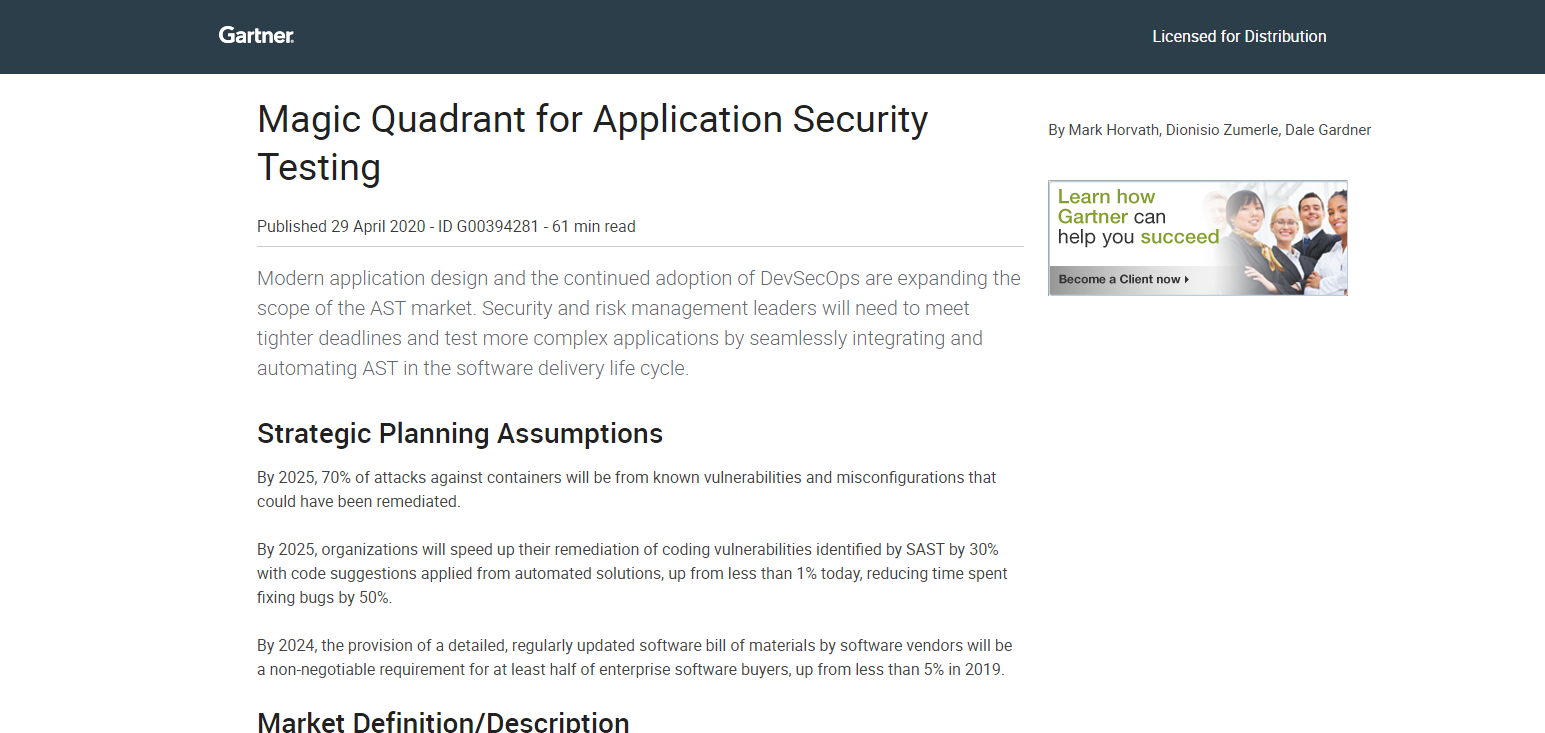 Magic Quadrant for Application Security Testing