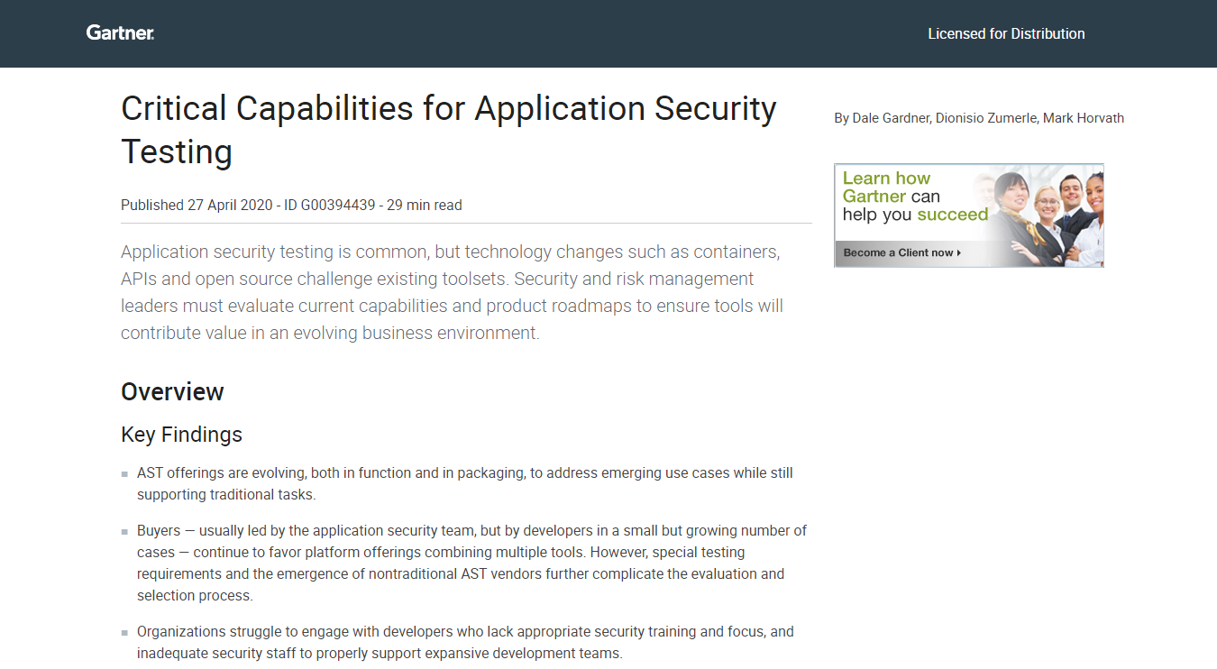 Critical Capabilities for Application Security Testing