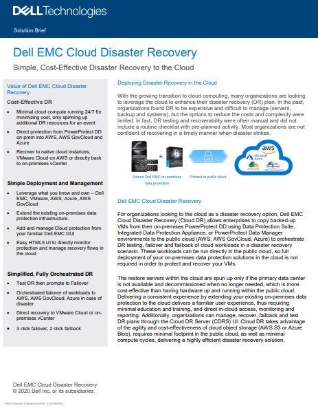 Dell EMC Cloud Disaster Recovery