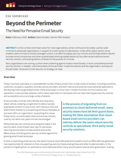 Beyond the Perimeter: The Need for Pervasive Email Security