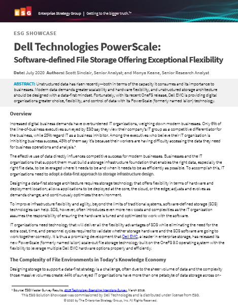 Dell Technologies PowerScale: Software-defined File Storage Offering Exceptional Flexibility