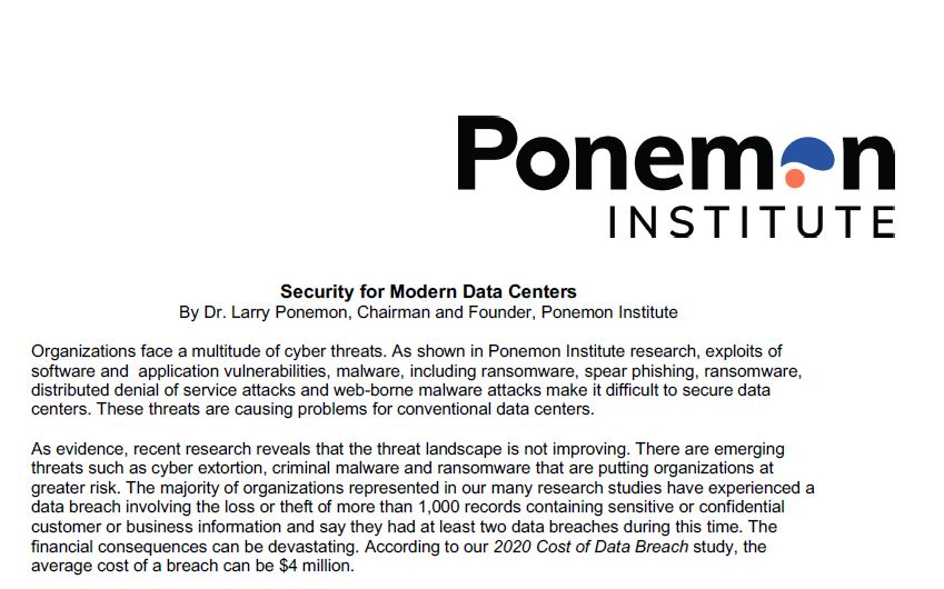 Ponemon Research Analyst Paper: Security for Modern Data Centers