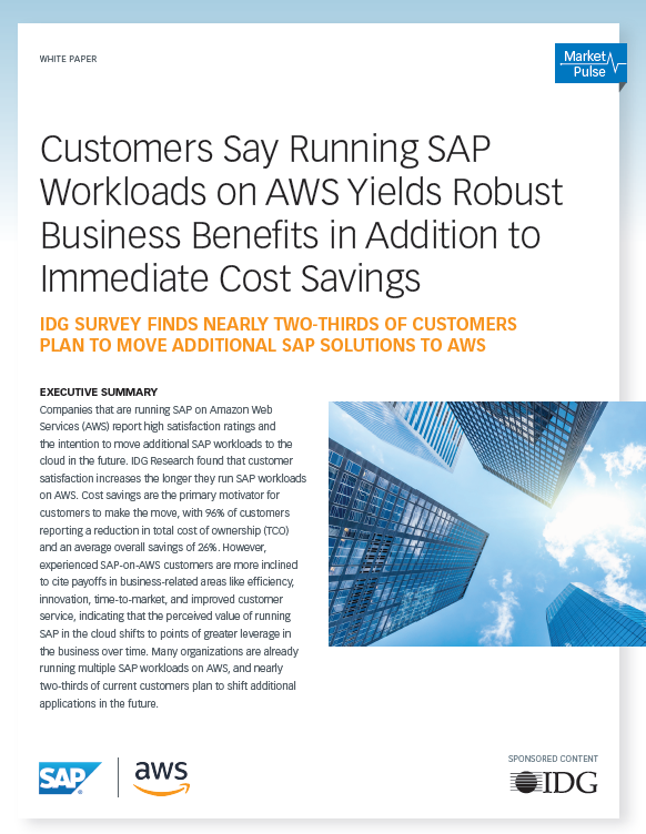 Customers Say Running SAP Workloads on AWS Yields Robust Business Benefits in Addition to Immediate Cost Savings