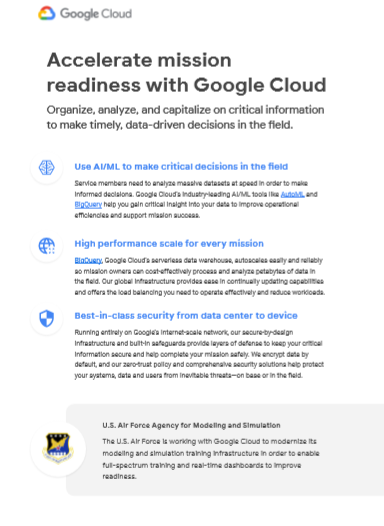 Accelerate mission readiness with Google Cloud