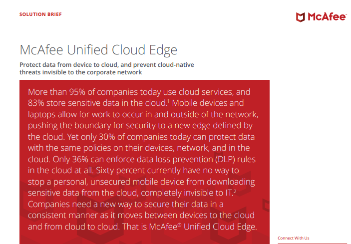McAfee Unified Cloud Edge: Protect Data from Device to Cloud