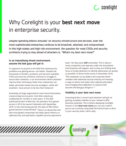 Why Corelight is your best next move in enterprise security.