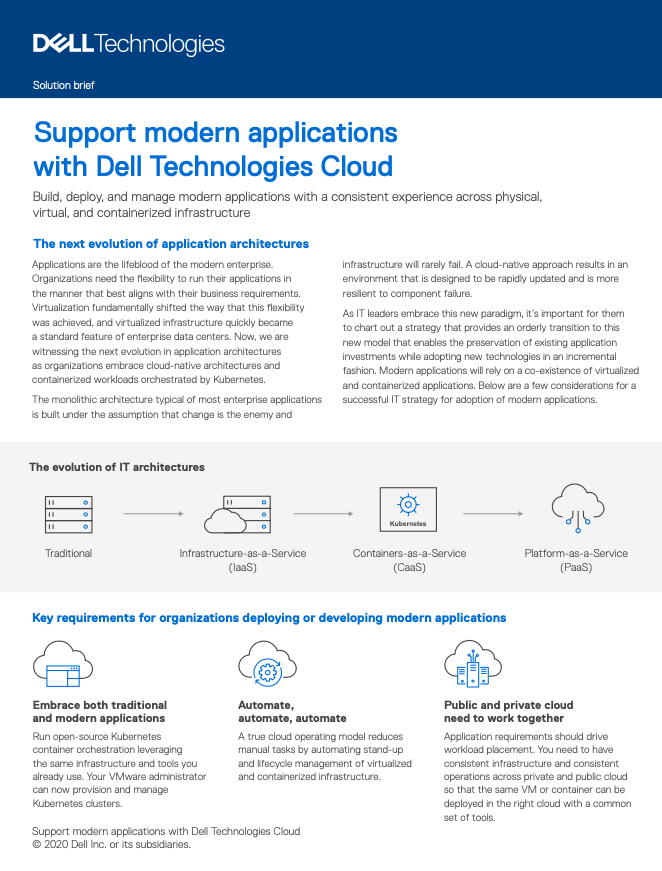 Support modern applications with Dell Technologies Cloud