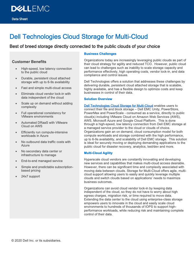 Dell Technologies Cloud Storage for Multi-Cloud