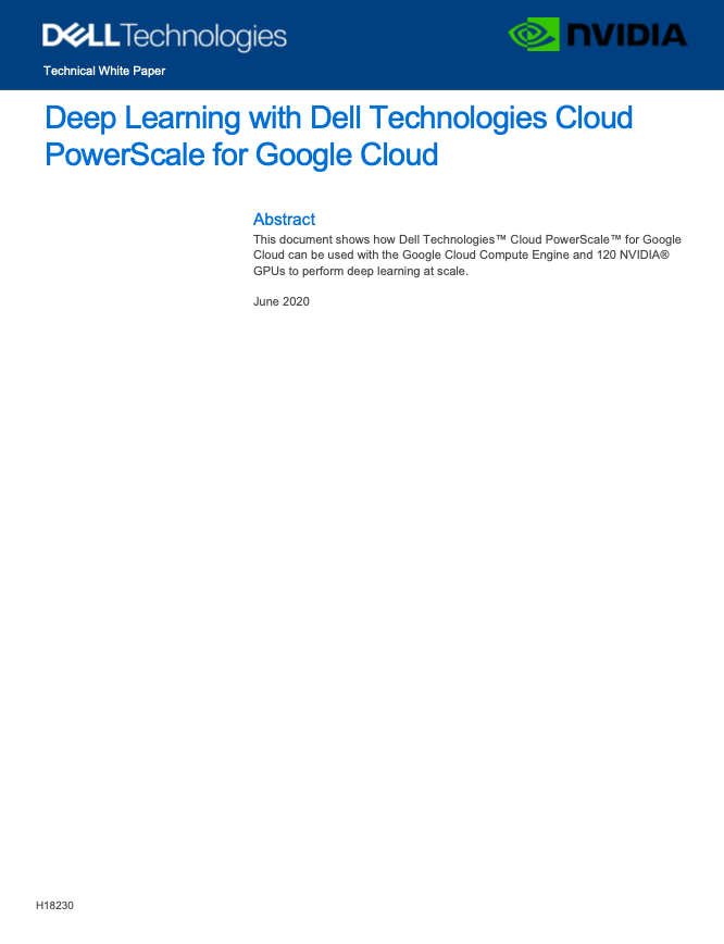 Deep Learning with Dell Technologies Cloud PowerScale for Google Cloud