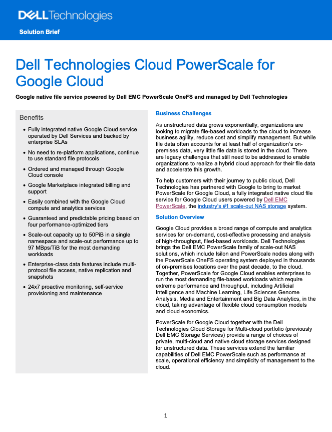 Dell Technologies Cloud PowerScale for Google Cloud