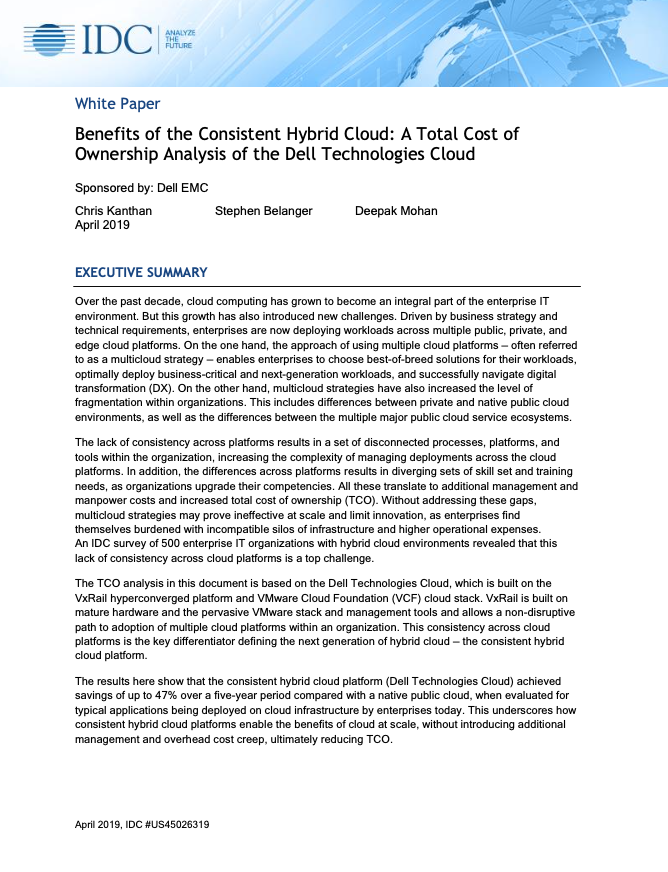 Benefits of the Consistent Hybrid Cloud: A Total Cost of Ownership Analysis of the Dell Technologies Cloud