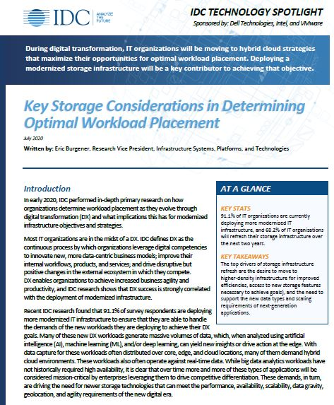 Key Storage Considerations in Determining Optimal Workload Placement
