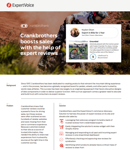 Crankbrothers and the Power of Expert Reviews