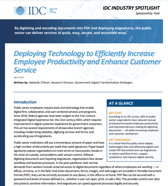 Deploying PDF Technology to Increase Government Employee Productivity and Enhance Customer Service