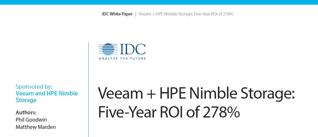 Veeam + HPE Nimble Storage: Five-Year ROI of 278%