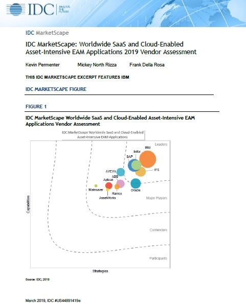 IDC MarketScape: Worldwide SaaS and Cloud-Enabled Asset-Intensive EAM Applications 2019 Vendor Assessment