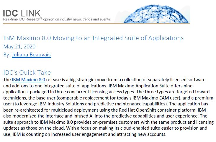 IBM Maximo 8.0 Moving to an Integrated Suite of Applications