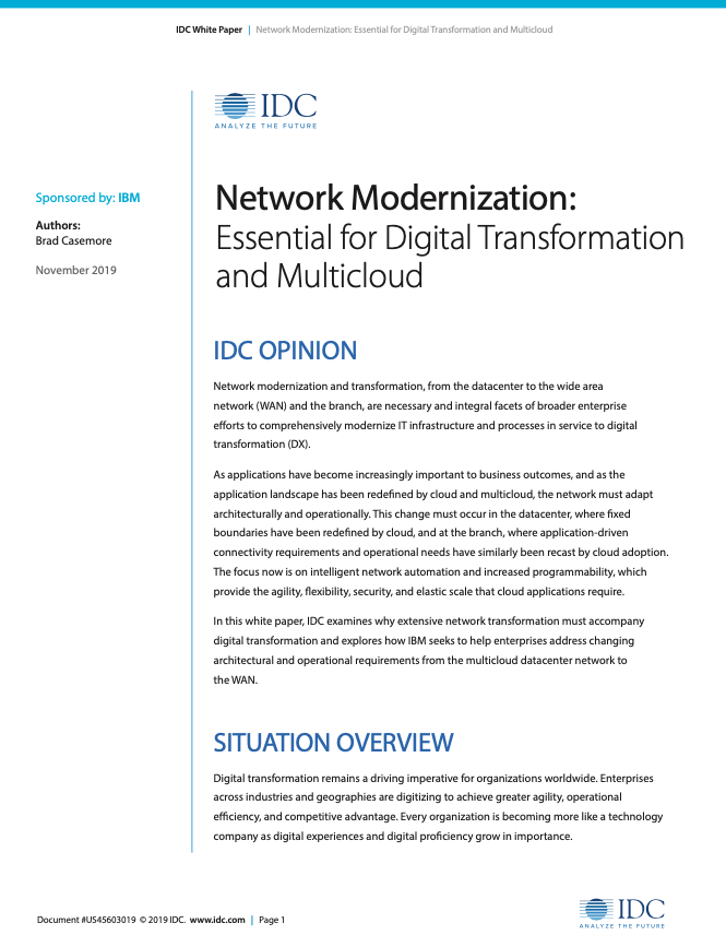 IDC - Network Modernization: Essential for Digital Transformation and Multicloud