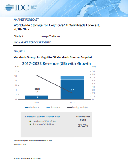 Worldwide Storage for Cognitive/AI Workloads Forecast,2018–2022