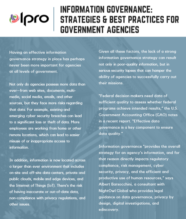 Information Governance Strategies and Best Practices for Government Agencies