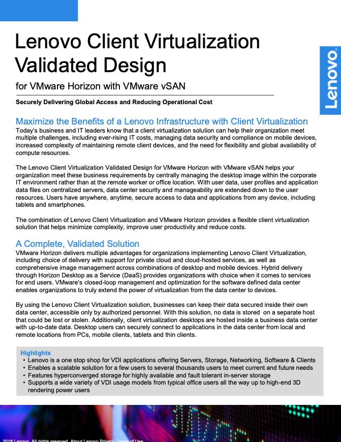 Lenovo Client Virtualization Validated Design