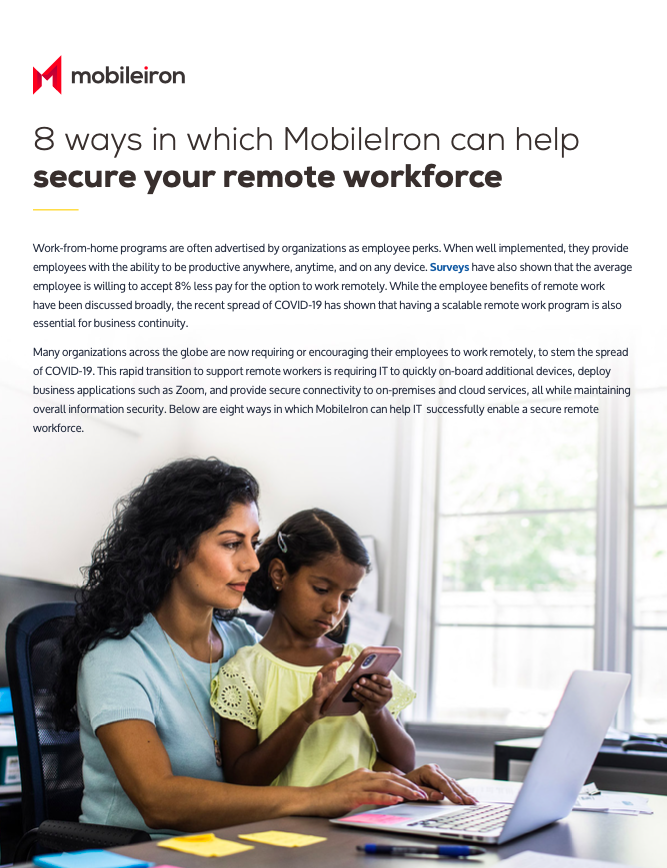 8 ways in which MobileIron can help secure your remote workforce