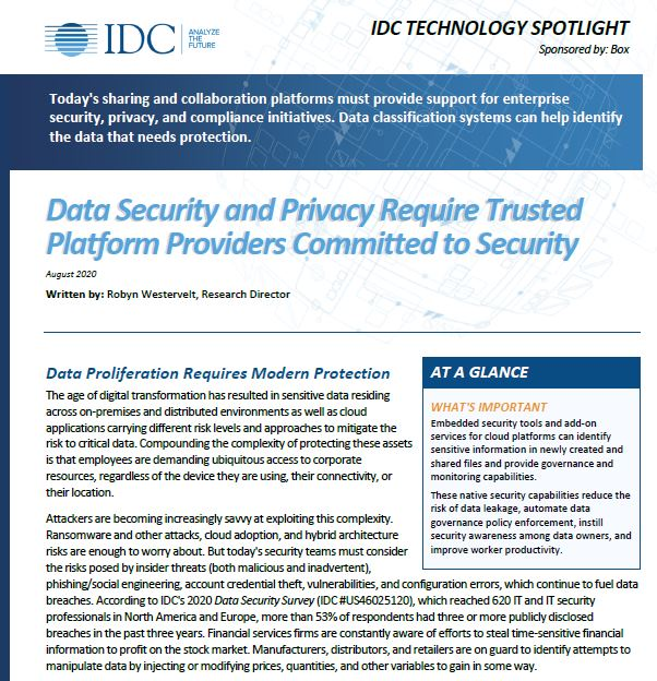 IDC: Data Security and Privacy Requires Trusted Platform Providers Committee