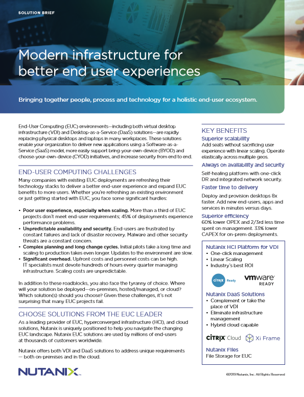 Modern infrastructure for better end user experiences