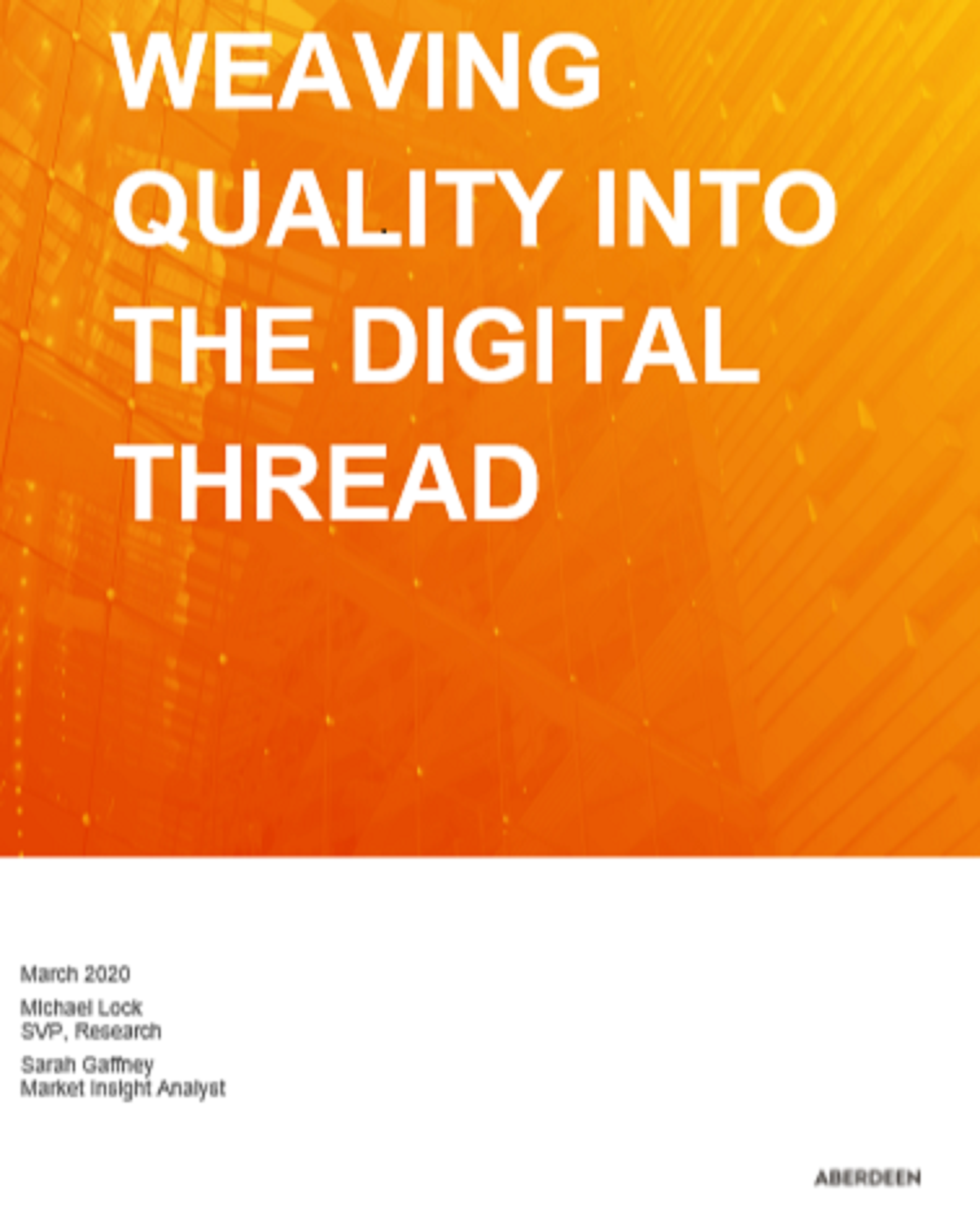 Weaving Quality into the Digital Thread