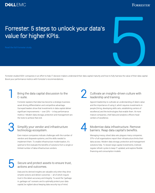 Forrester: 5 steps to unlock your data's 5 value for higher KPIs.