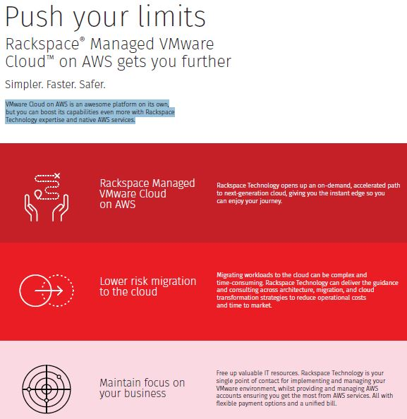 Push your limits : Rackspace® Managed VMware Cloud™ on AWS gets you further