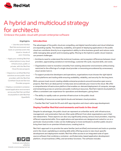 A Hybrid and Multicloud Strategy for Architects