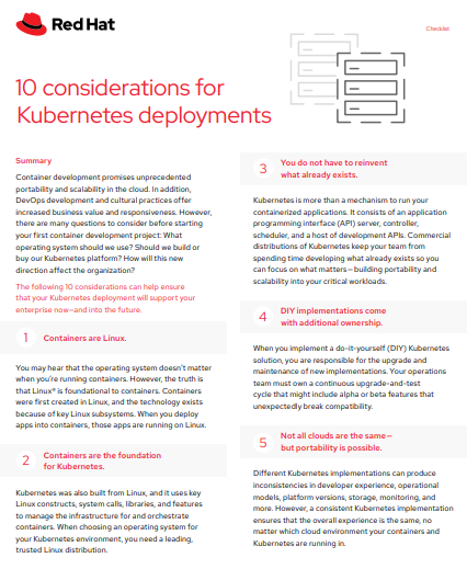 10 Considerations for Kubernetes Deployments