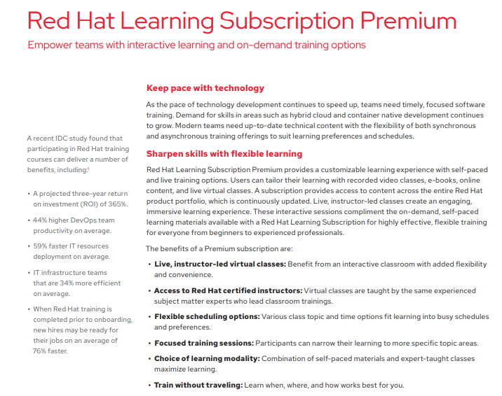 Red Hat Learning Subscription Premium Datasheet