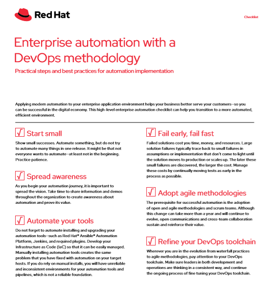 Enterprise automation with a DevOps methodology