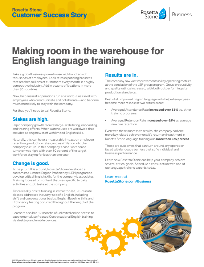 Making Room in the Warehouse for English Language Training