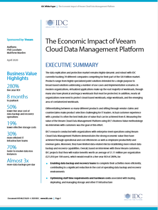 Economic Impact: Veeam Cloud Data Management