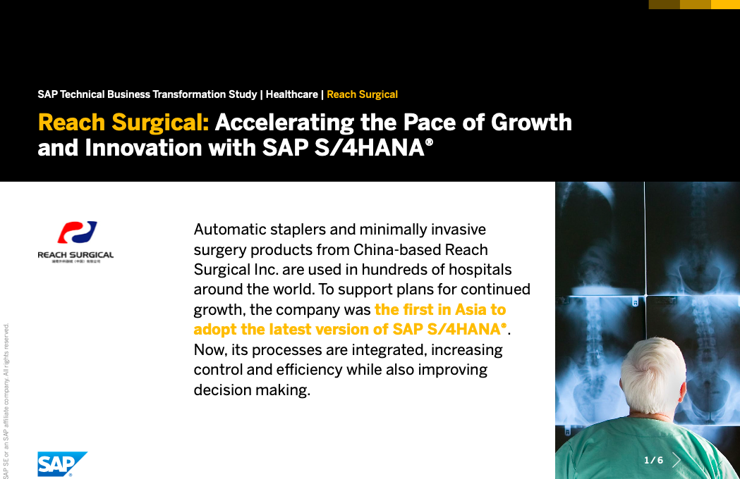 Reach Surgical: Accelerating the Pace of Growth and Innovation with SAP S/4HANA®